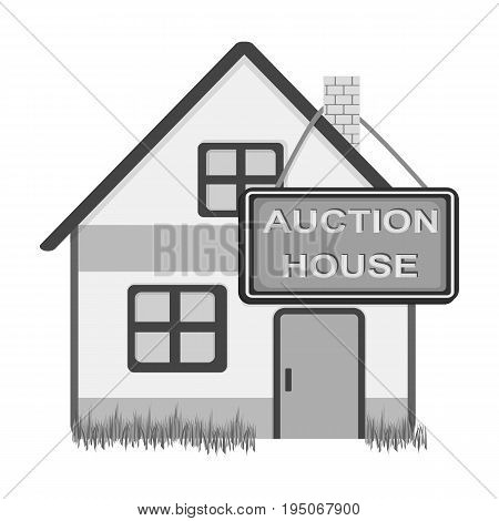 Auction house for sale. E-commerce single icon in monochrome style vector symbol stock illustration .