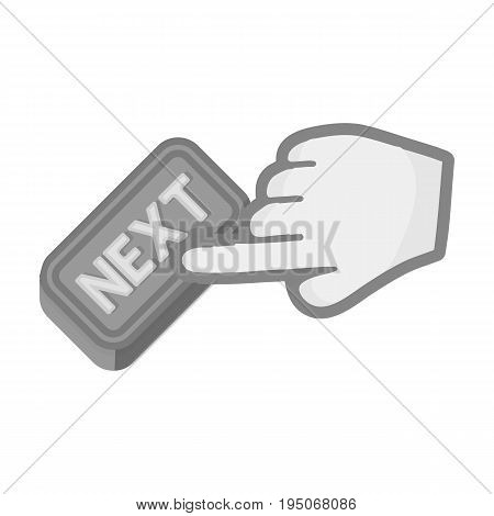 Click the button next. E-commerce single icon in monochrome style vector symbol stock illustration .