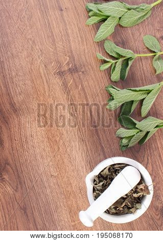 Fresh Natural Green And Dried Mint With White Glass Mortar, Healthy Lifestyle, Copy Space For Text O