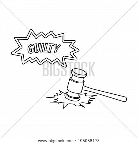 Justice and sentence. E-commerce single icon in outline style vector symbol stock illustration .