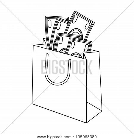 Bag with money. E-commerce single icon in outline style vector symbol stock illustration .