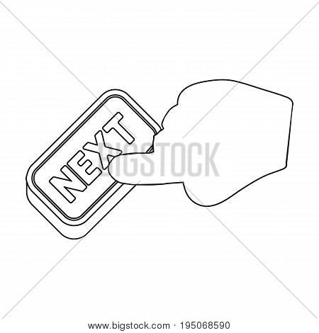 Click the button next. E-commerce single icon in outline style vector symbol stock illustration .