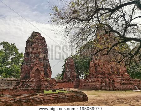 Wat Mahathat, the famous ancient city and historical place in Ayutthaya, Thailand