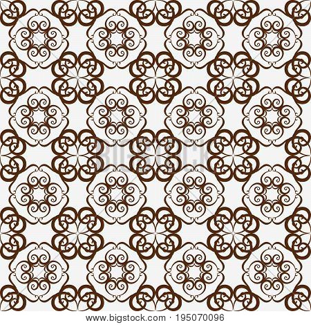 Retro Seamless Wallpaper Background Vortex Spiral Curve Round Cross Vine Kaleidoscope