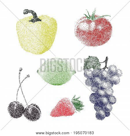 Nature Fresh Colorful Stippling Fruit Isolated Vector Pepper Tomato Lemon Cherry Strawberry Grape