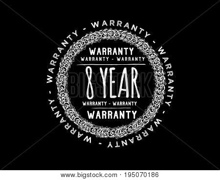 8 year warranty icon vintage rubber stamp guarantee