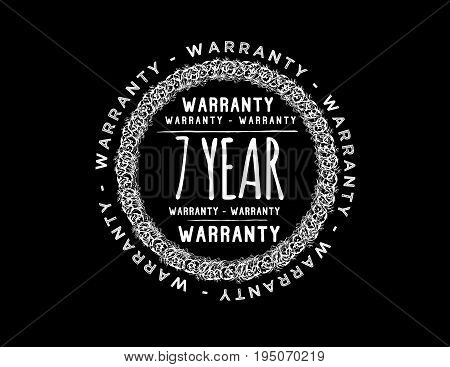 7 year warranty icon vintage rubber stamp guarantee
