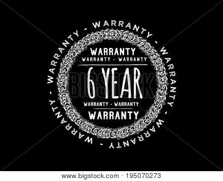 6 year warranty icon vintage rubber stamp guarantee