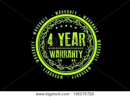 4 year warranty icon vintage rubber stamp guarantee