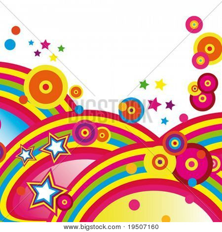 Festive abstract background of the brightest bands, arcs, circles and stars on a white background. 5/22. VECTOR (See Jpeg Also In My Portfolio)