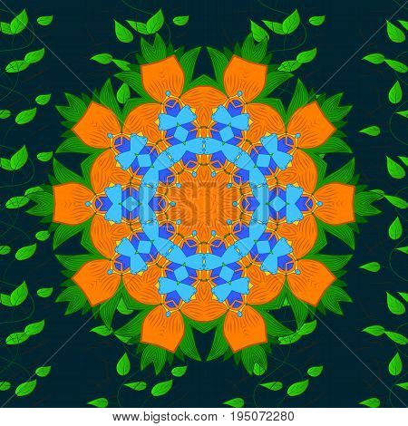 Colorful mandala. Yoga logo background for meditation poster. Oriental flourish vector. Anti-stress mandala. Decorative colored round ornament. Indian flower mandala.