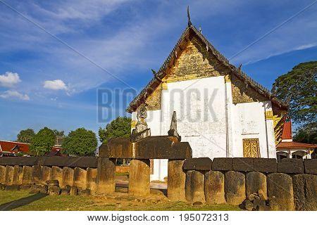 Old architecture Wat Phra Si Ratanamahathat temple in Sisatchanalai Historical Park Sukhothai province Thailand