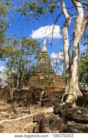 Wat Khao Suwankhiri temple tree pagoda and blue sky in Sisatchanalai Historical Park Sukhothai province Thailand