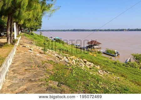 Mekong Rive and village ship at Amnat Charoen Province Thailand
