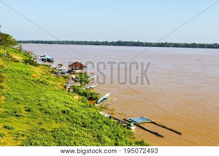 Mekong Rive flow through Amnat Charoen Province Thailand