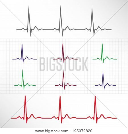 Realistic and stylized elements and lines of normal ECG in different colors with background