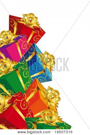 Holidays elements vertical crop Gift boxs. Festive background for your design. Varicoloured boxes with bow on a white background. VECTOR (See Jpeg Also In My Portfolio)
