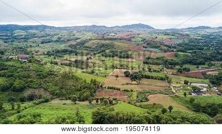 aerial photo from drone: Landscape of Khao Kho district petchabun province Thailand deforestion and lacduse concept
