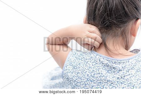 Asian Girl Scratch The Itch With Hand Isolated