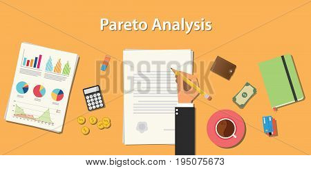 pareto analysis illustration with businessman working on paper document with graph money chart paperwork vector