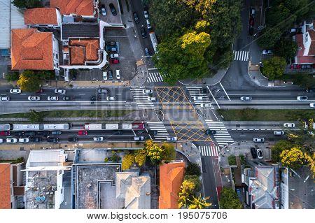 Top View of Traffic in Sao Paulo, Brazil