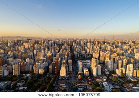 Aerial View of Sao Paulo city, Brazil