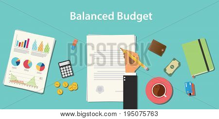balanced budget illustration with businessman working on paper document with graph money chart paperwork vector