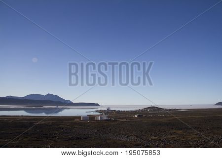 Evening view of the community of Qikiqtarjuaq on Broughton Island, Nunavut, Canada,