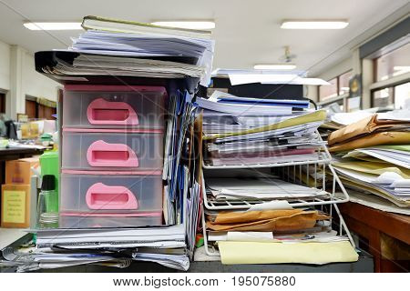 Cabinet Drawer and Wire Document Tray at workplace
