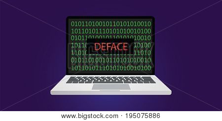 deface website hacking concept illustration with laptop or notebook and programming code with binary sign 0 and 1 vector