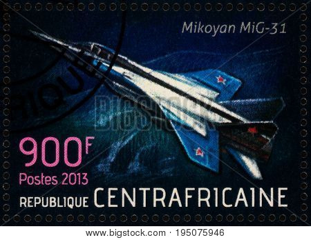 Moscow Russia - July 12 2017: A stamp printed in Central African Republic shows supersonic interceptor aircraft Mikoyan MiG-31 (Foxhound) series