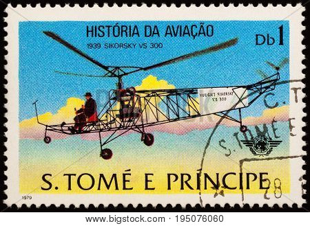 Moscow Russia - July 10 2017: A stamp printed in Sao Tome and Principe shows helicopter Sikorsky VS 300 (1939) series