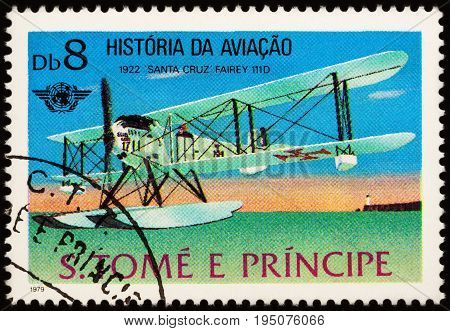 Moscow Russia - July 10 2017: A stamp printed in Sao Tome and Principe shows old hydroplane Fairey 111D (1922) series
