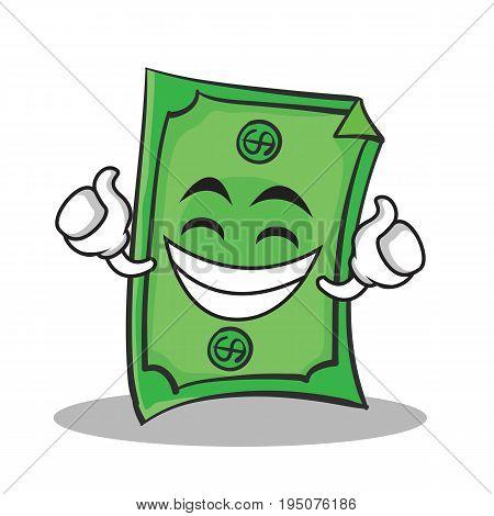 Proud face Dollar character cartoon style vector illustration