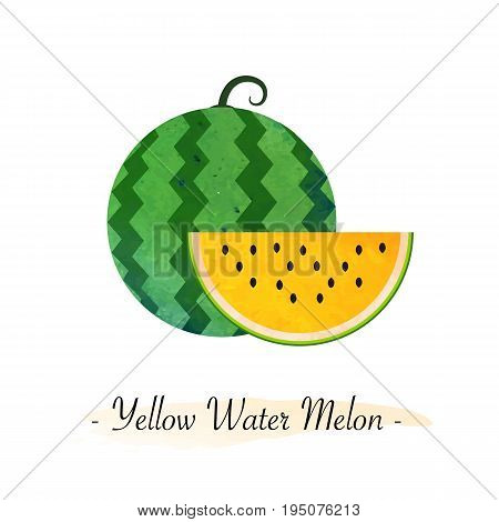 Colorful Watercolor Texture Vector Healthy Fruit Yellow Water Melon
