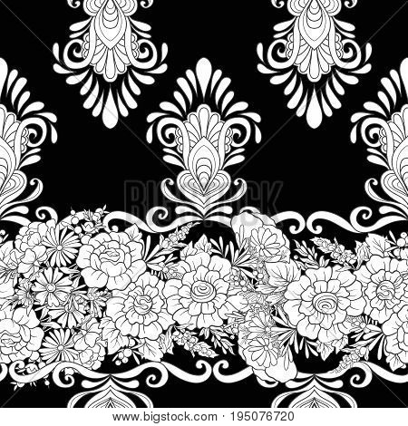 Floral seamless pattern with butterflies Stock vector illustration. In black and white.