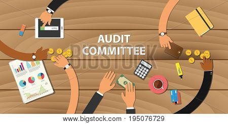 audit committee illustration team work together with hand on wooden table with money graph paper work gold coin vector