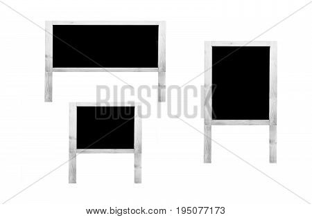 Group of white wooden frame blank isolated with copy space for text and decorative image.
