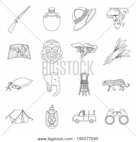 Rifle, mask, map of the territory, diamonds and other equipment. African safari set collection icons in line style vector symbol stock illustration .