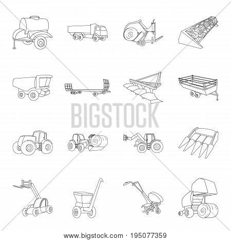 Trailer, dumper, tractor, loader and other equipment. Agricultural machinery set collection icons in line style vector symbol stock illustration .