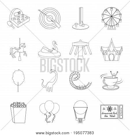 Carousel, shooting range, slides, cotton wool and other attributes.Amusement Park set collection icons in line style vector symbol stock illustration .