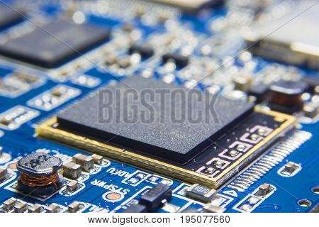 CPU Processing unit on electronic circuit board. Chipset with blank surface for writing texts or phrase as needed.