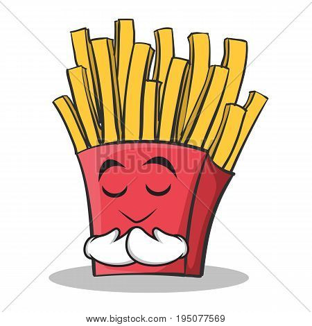 Praying face french fries cartoon character vector illustration