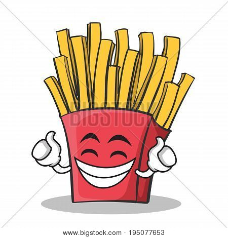 Proud face french fries cartoon character vector illustration