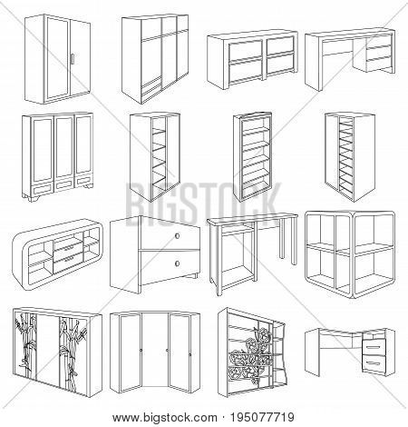 Wardrobe, mirror, wood and other icons of interior. Interior set collection icons in line style vector symbol stock illustration.