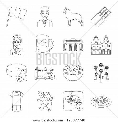National, flag, clothing and other Belgium attributes .Belgium set collection icons in line style vector symbol stock illustration.