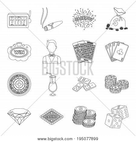 Roulette, cards, croupier, alcohol, and other attributes. Casino and gambling set collection icons in line style vector symbol stock illustration .