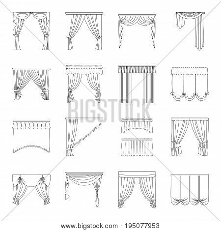 Fabric, textiles, interior and other curtains elements. Curtains set collection icons in line style vector symbol stock illustration.