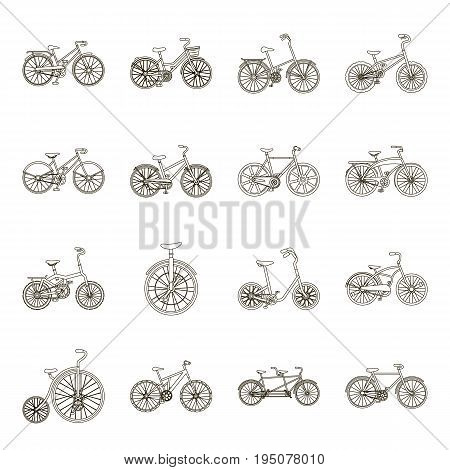 Different models of bicycles. Different bicycle set collection icons in line style vector symbol stock illustration .
