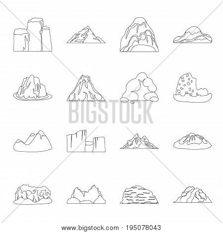 Rock, peak, volcano, and other kinds of mountains. Different mountains set collection icons in line style vector symbol stock illustration .